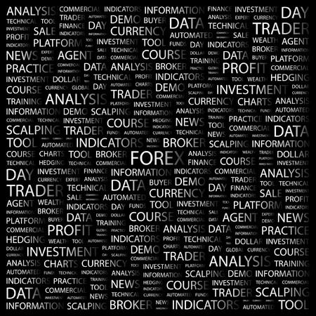 外国為替。黒の背景上のコラージュを単語します。イラスト。