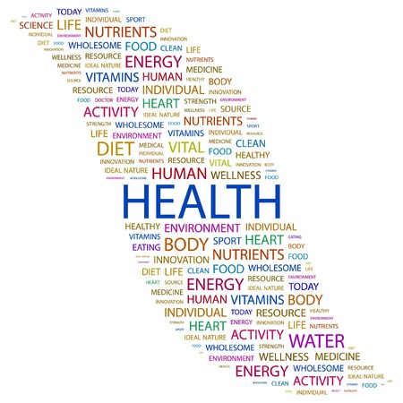 HEALTH. Word collage on white background. illustration.
