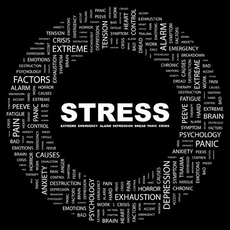 peeve: STRESS. Word collage on black background. illustration.