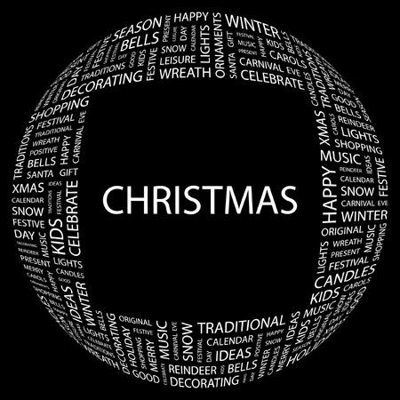 CHRISTMAS. Word collage on black background.  illustration. Stock Vector - 7356834