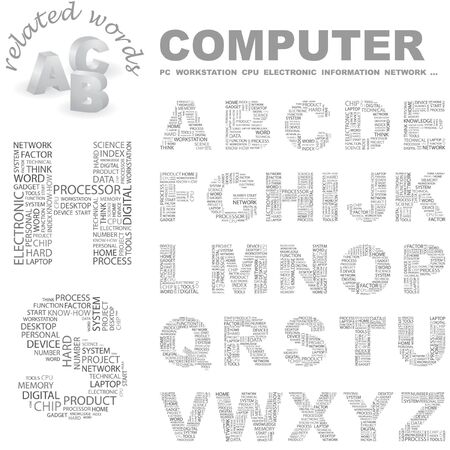 office automation: COMPUTER.   letter collection. Wordcloud illustration.   Illustration