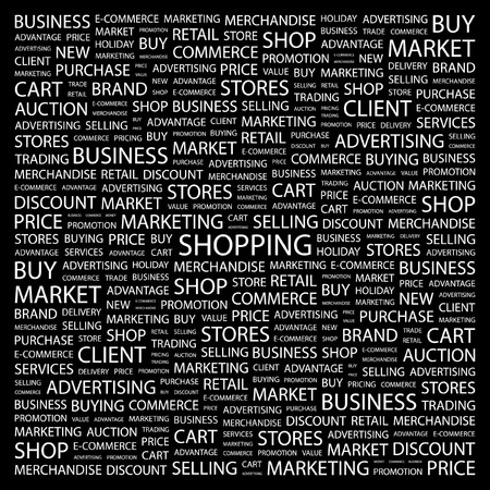 SHOPPING. Word collage on black background.  illustration. Stock Vector - 7357296