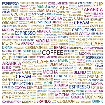 buff: COFFEE. Word collage on white background illustration.