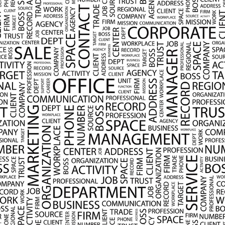 OFFICE. Seamless  background. Wordcloud illustration.   Vector
