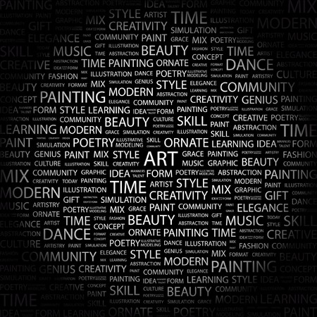 manners: ART. Word collage on black background.   illustration.