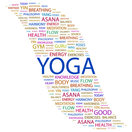 YOGA. Word collage on white background.  illustration. Stock Vector - 7355651