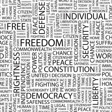 rightness: FREEDOM. Seamless   pattern with word cloud.