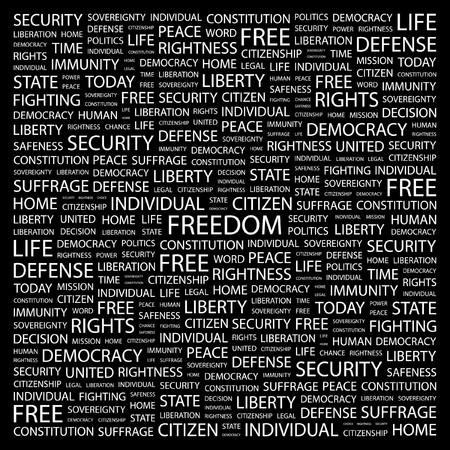 diritti umani: LIBERT�. Parola di collage su sfondo nero illustrazione.