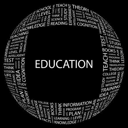 EDUCATION. Word collage on black background.   illustration. Stock Vector - 7356621