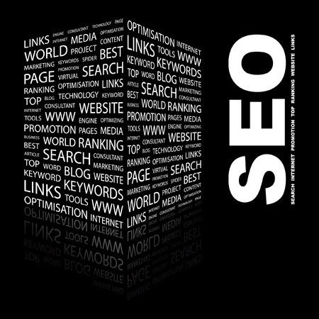 SEO. Word collage on black background. illustration.    Vector