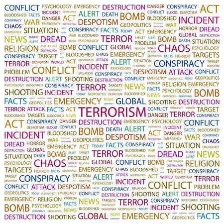 bloodshed: TERRORISMO. Palabra collage sobre fondo blanco. ilustraci�n.
