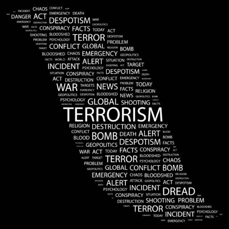 bloodshed: TERRORISM. Word collage on black background.  illustration.