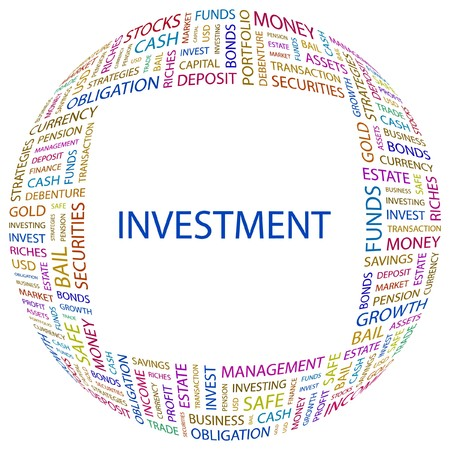 INVESTMENT. Word collage on white background. illustration.    Vector