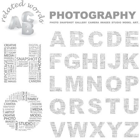 PHOTOGRAPHY.  letter collection. Wordcloud illustration.   Vector