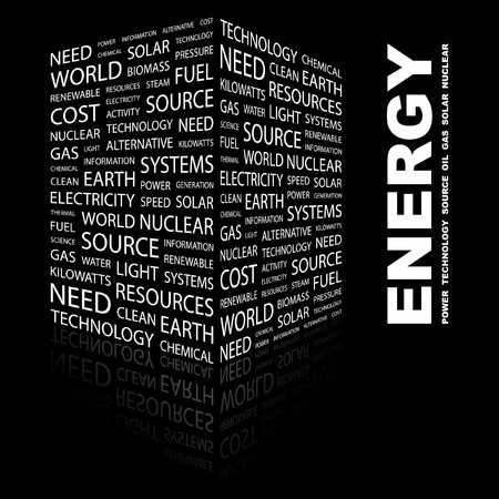 renewables: ENERGY. Word collage on black background. illustration.    Illustration