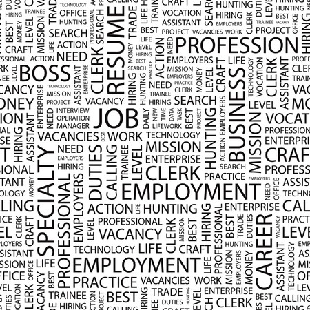 career entry: JOB. Seamless  pattern with word cloud.