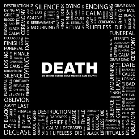 bereavement: DEATH. Word collage on black background.  illustration.    Illustration