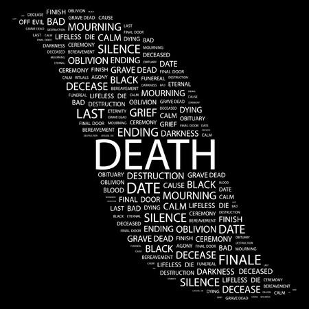 decease: DEATH. Word collage on black background. illustration.