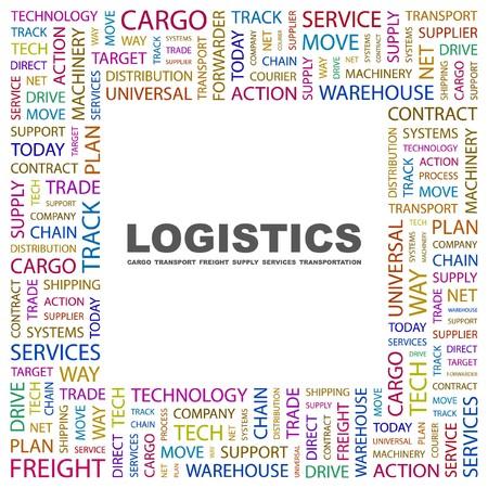 air freight: LOGISTICA. Parola di collage su sfondo bianco. illustrazione.  Vettoriali