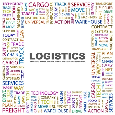 LOGISTICS. Word collage on white background. illustration.    Vector