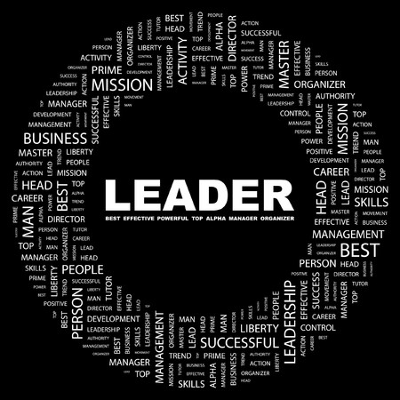 LEADER. Word collage on black background.   illustration.    Vector