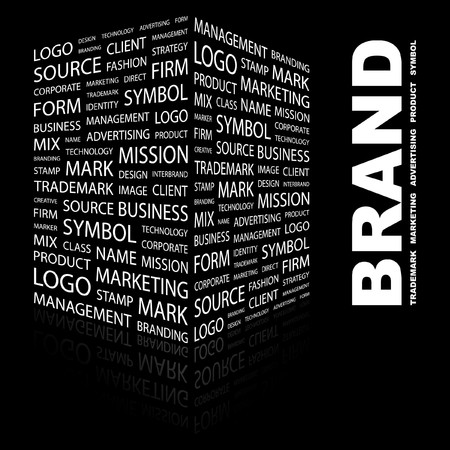 wordcloud: BRAND. Word collage on black background. illustration.