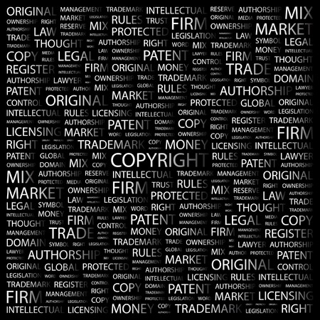 COPYRIGHT. Word collage on black background.  illustration.    Vector
