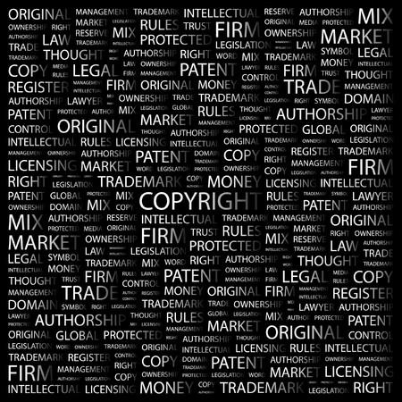 authorship: COPYRIGHT. Word collage on black background.  illustration.
