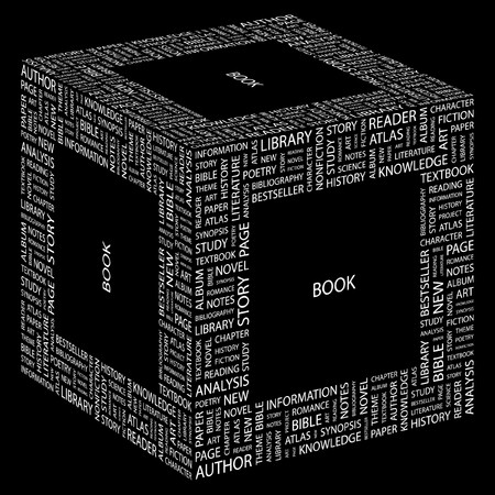 bookseller: BOOK. Word collage on black background.  illustration.