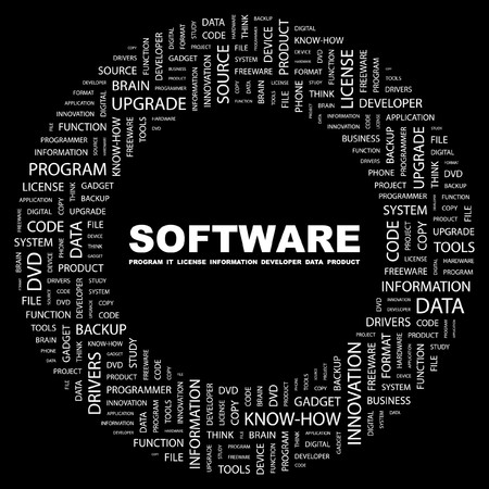 SOFTWARE. Word collage on black background. illustration. Stock Vector - 7356827