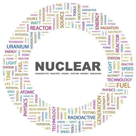 NUCLEAR. Word collage on white background.  illustration.