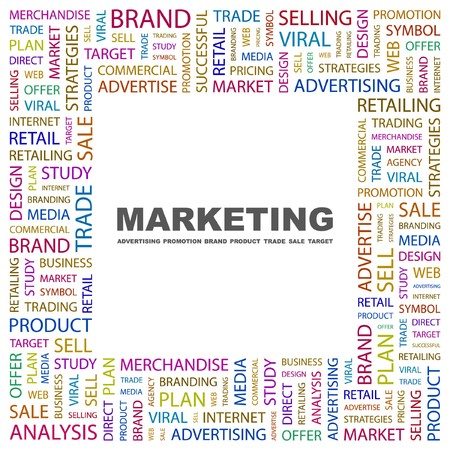 marketing mix: MARKETING. Word collage on white background illustration.    Illustration