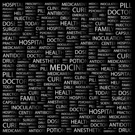 MEDICINE. Word collage on black background illustration.    Vector