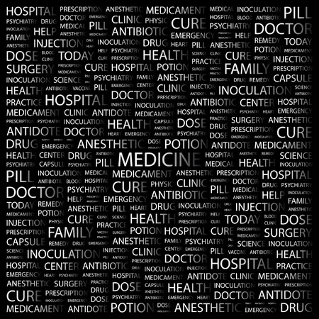 nursing associations: MEDICINE. Word collage on black background illustration.    Illustration