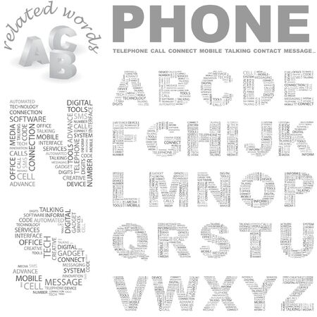 PHONE.  letter collection. Wordcloud illustration.   Vector