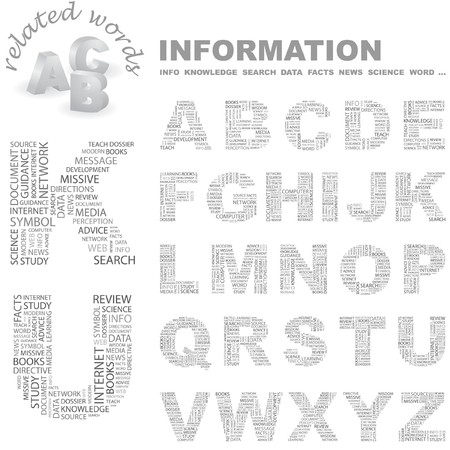 erudition: INFORMATION.   letter collection. Wordcloud illustration.