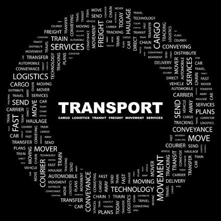 TRANSPORT. Word collage on black background. illustration.    Vector