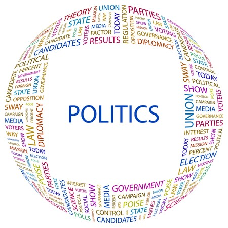 conflict theory: POLITICS. Word collage on white background.  illustration.    Illustration