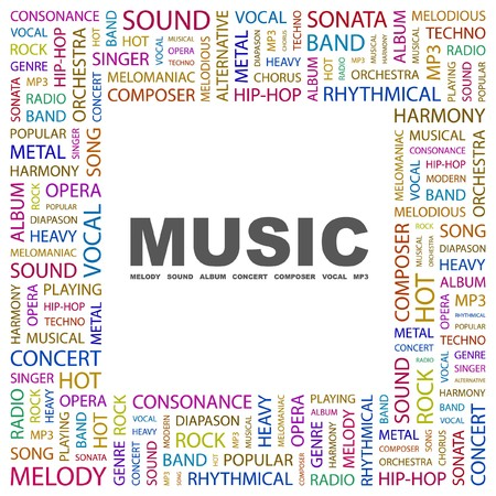 rhythmical: MUSIC. Word collage on white background. illustration.    Illustration