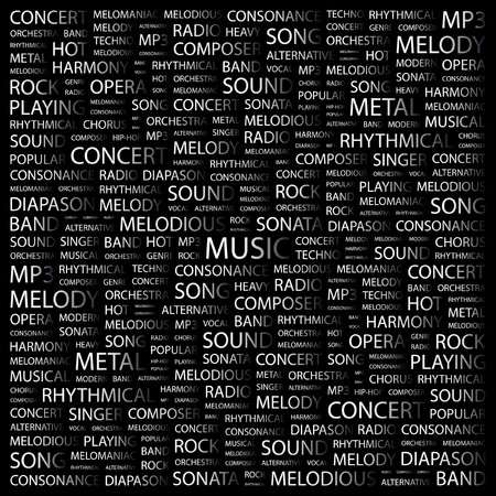 rhythmical: MUSIC. Word collage on black background.  illustration.     Illustration