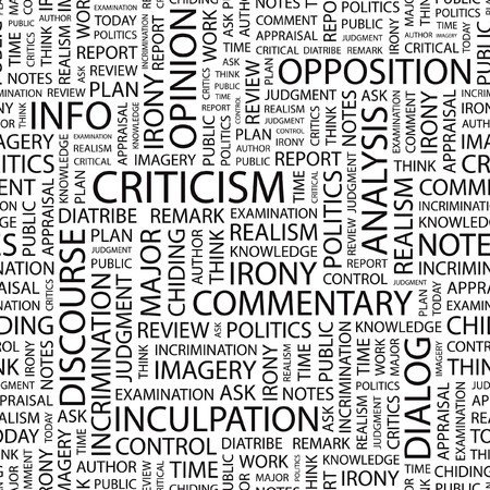 CRITICISM. Seamless pattern with word cloud. Stock Vector - 7356425