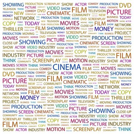 cinematograph: CINE. Palabra collage sobre fondo blanco. ilustraci�n.