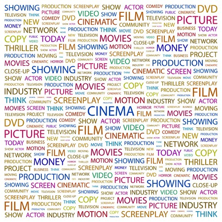 videotape: CINEMA. Word collage on white background.  illustration.