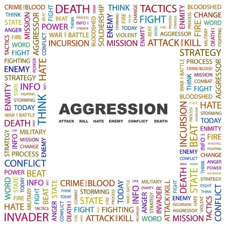AGGRESSION. Word collage on white background illustration. Stock Vector - 7356373