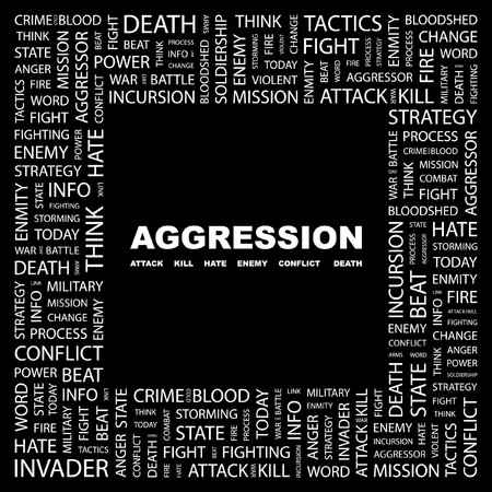 AGGRESSION. Word collage on black background.  illustration. Stock Vector - 7356244