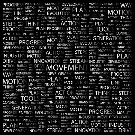 tendency: MOVEMENT. Word collage on black background.  illustration.