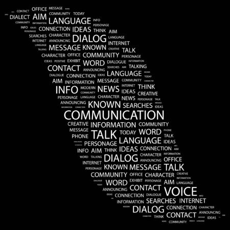 COMMUNICATION. Word collage on black background. illustration.    Stock Vector - 7355655