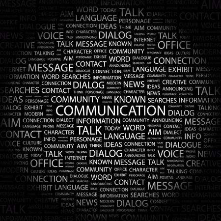 advisement: COMMUNICATION. Word collage on black background. illustration.    Illustration