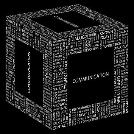 advisement: COMMUNICATION. Word collage on black background illustration.