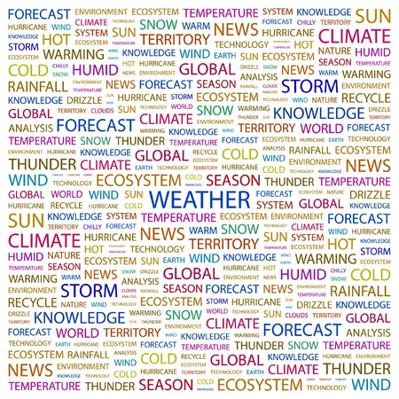 WEATHER. Word collage on white background. illustration.    Stock Vector - 7357277